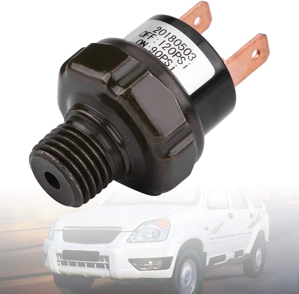 Qiilu 90-120 PSI Air Pressure Switch 12V Universal Tank Mount Type Thread 1//4 NPT Air Compressor Pressure Switch