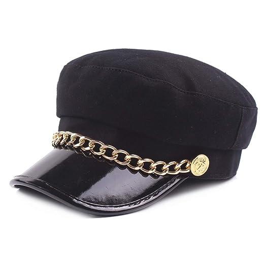 a9ada2297baeb Ladies Military Hat Women Chain Cap Woolen Leather Patchwork Newsboy Baker  Boy Autumn Winter