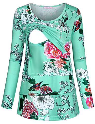 JOYMOM Breastfeeding Tops for Women, Maternity T Shirts Spring Fall Long Sleeve Wide Round Neck Easy Fitting Mom Feeeding Clothes Double Layers Flower Printed Knit Nursing Tunics Leaf Green L