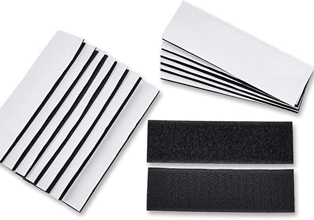 Heavy Duty Hook and Loop Tape Strips with Adhesive,15PCS Sticky Back Tape Industrial Strength Fastener Interlocking Mounting Tape for Home Office Use(1.2x4inch)