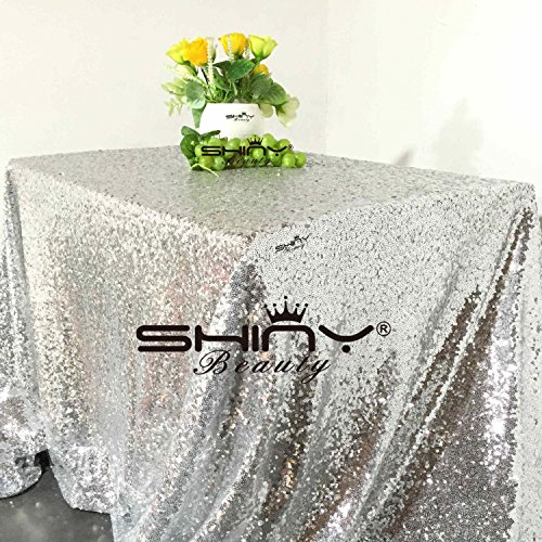 ShinyBeauty 60x102-Inch Rectangule-Silver-Sequin Tablecloth Sequin Table Linen For Chritmas/Boxing Day