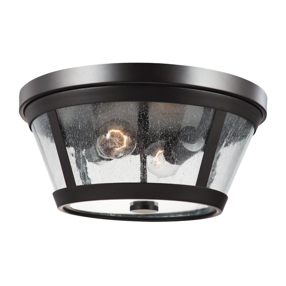 Feiss FM393ORB Harrow Glass Flush Mount Ceiling Lighting 120watts 2-Light 14Dia x 7H Bronze 120watts 2-Light 14Dia x 7H