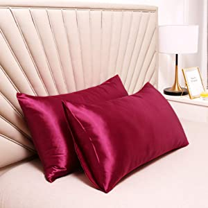 UNIHome 2pc New Queen/Standard Silk~y Satin Pillow Case Multiple Colors