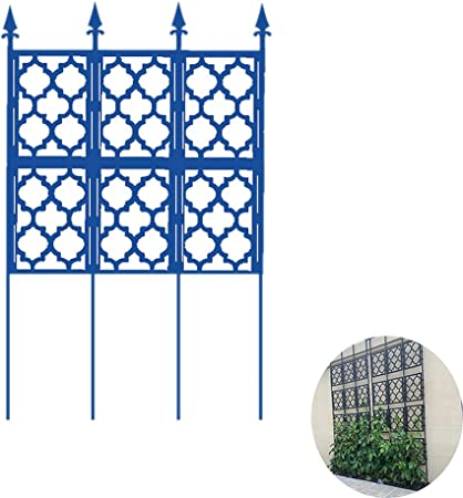 Jardín de Hierro Valla Panel Enrejado, Gran Jardín Enrejado para Plantas trepadoras obelisco de Plantas en Maceta textuales, para Rose vides de UVA de Verduras Pepino Clematis,Azul: Amazon.es: Hogar
