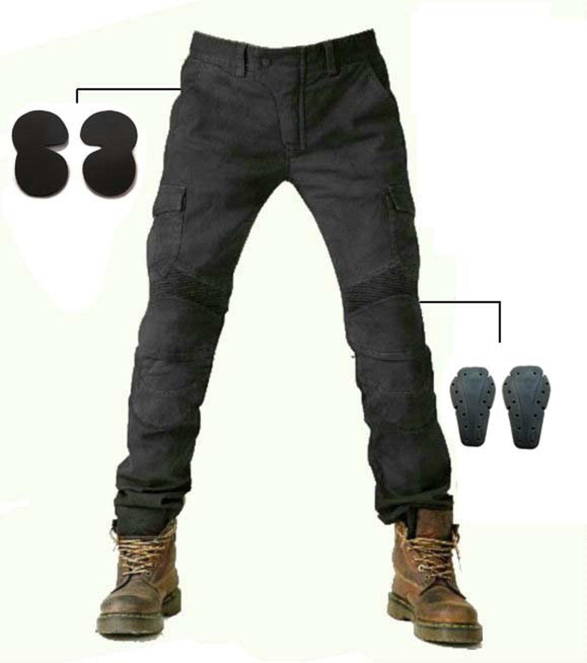 Alpha Rider Hommes Moto Pantalon d'É quitation Motocross Denim Jeans avec Proté ger Pads É quipement Racing Knight Pantalon Noir MotoFans