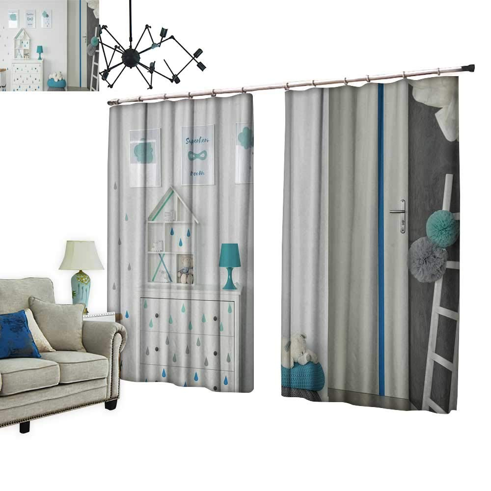 PRUNUS Blackout Curtains with Hook White Baby Dresser Pouf wposters Warm Home Designs,W84.3 xL84.3