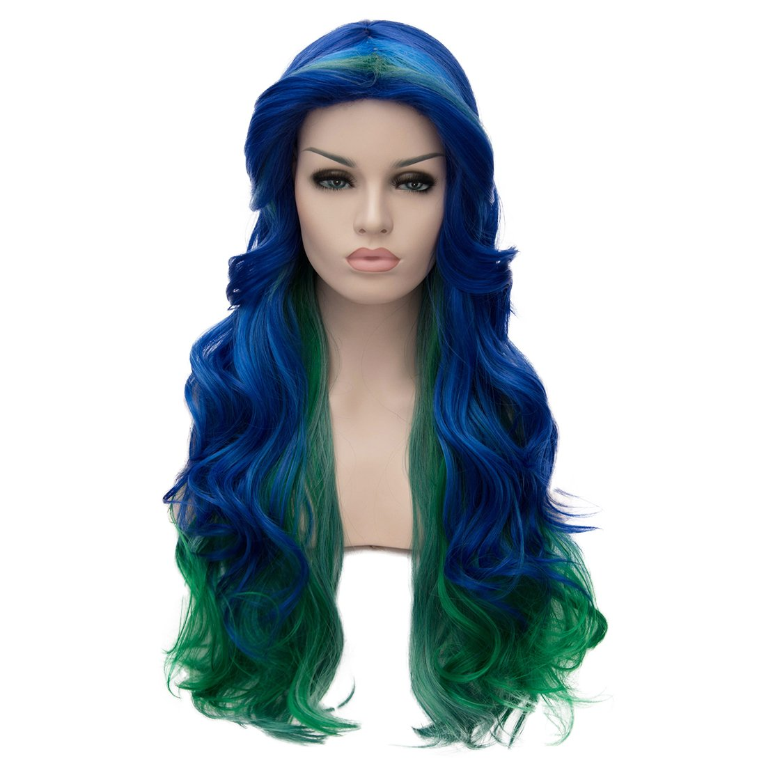 Alacos 70cm Long Curly Heat Resistant Fiber Hair Multicolored Holiday Party Dressed Up Cosplay Wigs for Women+ Wig Cap