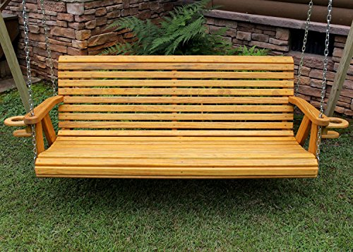 ROLL BACK Amish Heavy Duty 800 Lb 5ft. Porch Swing With Cupholders – Cedar Stain – Made in USA For Sale