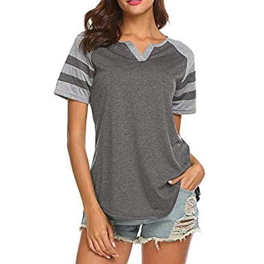 9b53376a Amazon.com: Fine Womens T Shirts Short Sleeve Women's Casual Tie Knot Fitting  Sexy Slim Fit Tops: Clothing