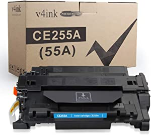 V4INK 1PK Compatible Toner Cartridge Replacement for HP 55A CE255A Toner Black Ink for HP Laserjet P3015 P3015d P3015dn P3015n P3015x HP Enterprise 500 MFP M521dn M521dw M525c M525dn M525f Printer