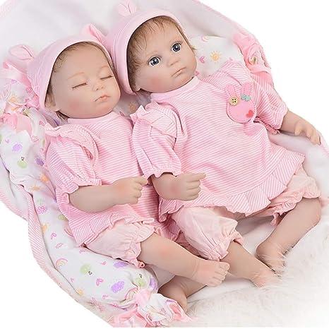 Amazon.com: Zwmy Simulación Muñeca Reborn Twins bebé suave ...