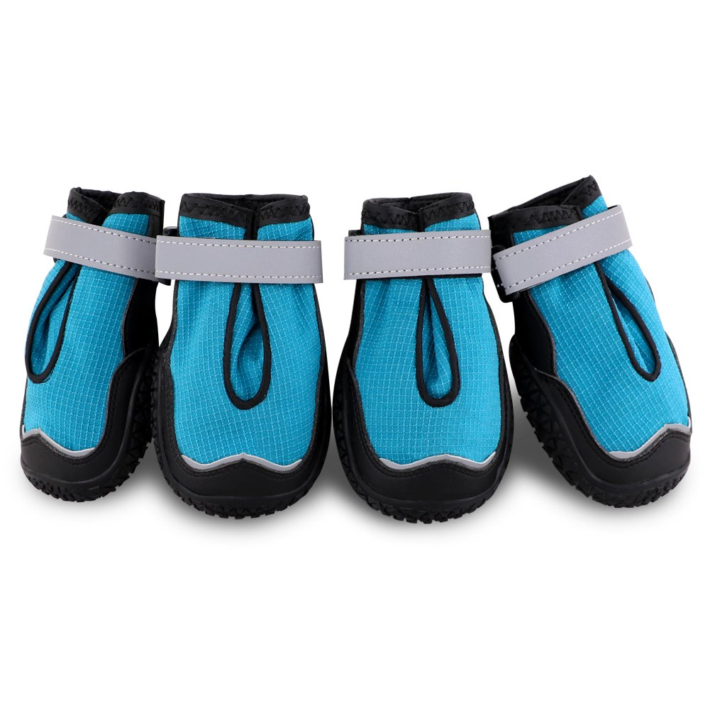 Petbobi Breathable Dog Boots Stay On Dog Shoes for Medium Dogs All Weather Dog Booties with Double Sole and Adjustable Straps (6#, Blue)