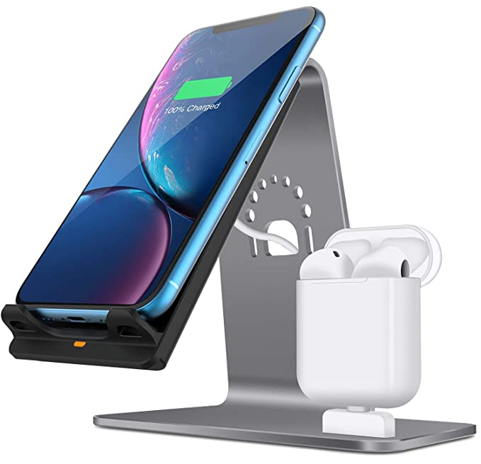 buy online 66ce6 451aa 2 in 1 Aluminum Airpods Charging Station, Qi Fast Wireless Charger Dock for  iPhone X/8 Plus/8/Samsung S8 and Other Qi-Enabled Devices, Grey(Airpods ...