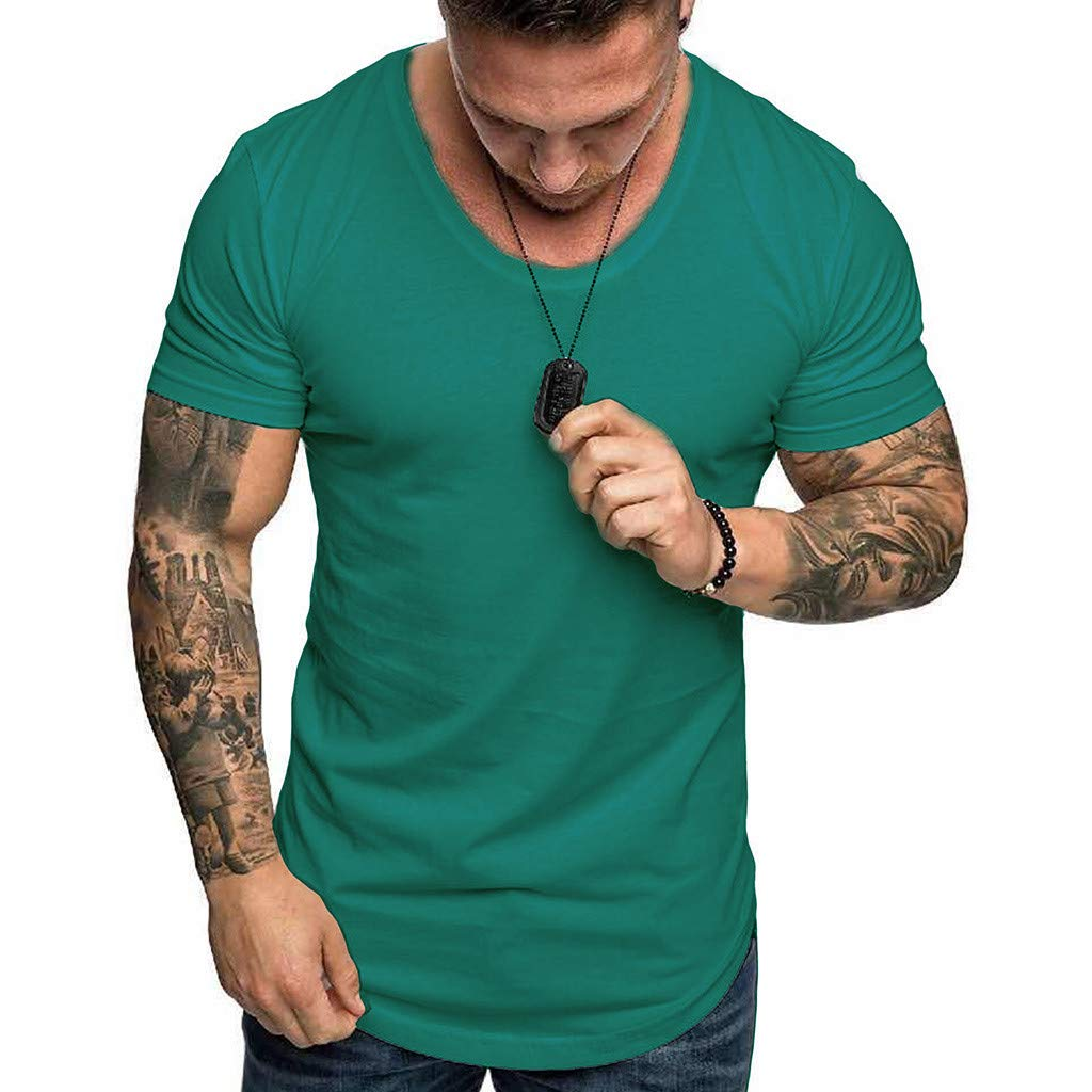 YOMXL Athletic Men's Performance Cotton Short Sleeve T-Shirt Classic Basic Solid Color Ultra Soft T-Shirt Green by YOMXL