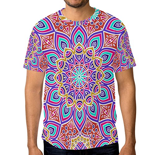 ALAZA Ethnic Floral Henna Tattoo T-Shirt Crewneck Top Tee - Henna Floral Tattoos