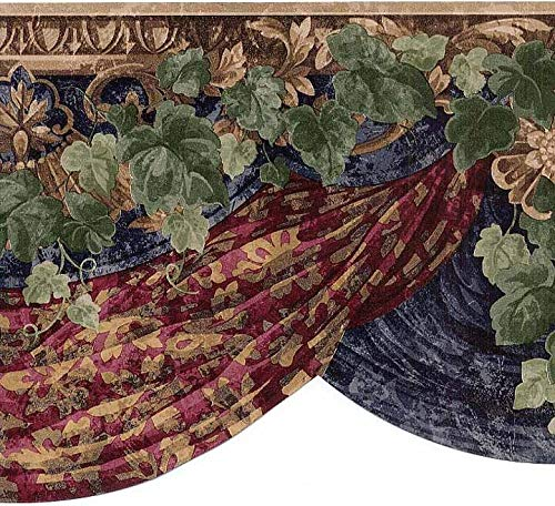 (Village Wall Border 5807460 Deep Jewel Tones Burgundy Olive Gold Swag Tapestry Fabric Curtain Trailing Ivy Vine Acanthus Leaf Motif Wallpaper Home Decor)