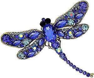 Crystal Rhinestone Dragonfly Brooch Pin Unique Elegant Animal Broach Scarf Sweater Shirt Pin Jewelry (Blue)