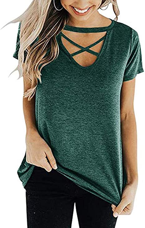 XIAOBAOZITXU Camiseta De Mujer Poliéster Nudo Manga Corta Camisas De Manga Angosta Frente Cruzado Tops Sueltos Camiseta De Mujer (Verde): Amazon.es: Deportes y aire libre