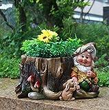 Design XL Nano 91025-3 con Vaso da fiori 30 cm Alto Decorazione Da Giardino Nano Da Giardino Statua Decorazione