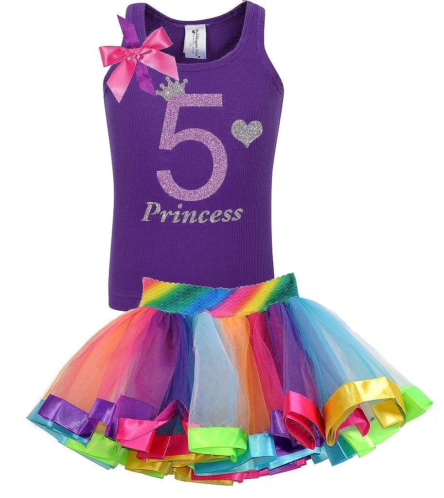 Bubblegum Divas Little Girls 5th Birthday Princess Purple Rainbow Outfit