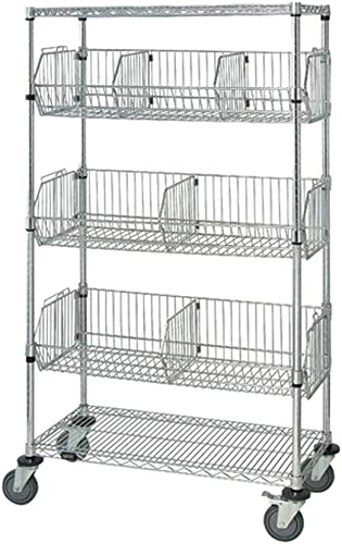 Quantum Storage Systems Mobile Wire Basket Units – Chrome- 18 W X 36 L X 69 H