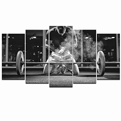 Amazon Com Live Art Decor 5 Piece Black And White Canvas Wall Art