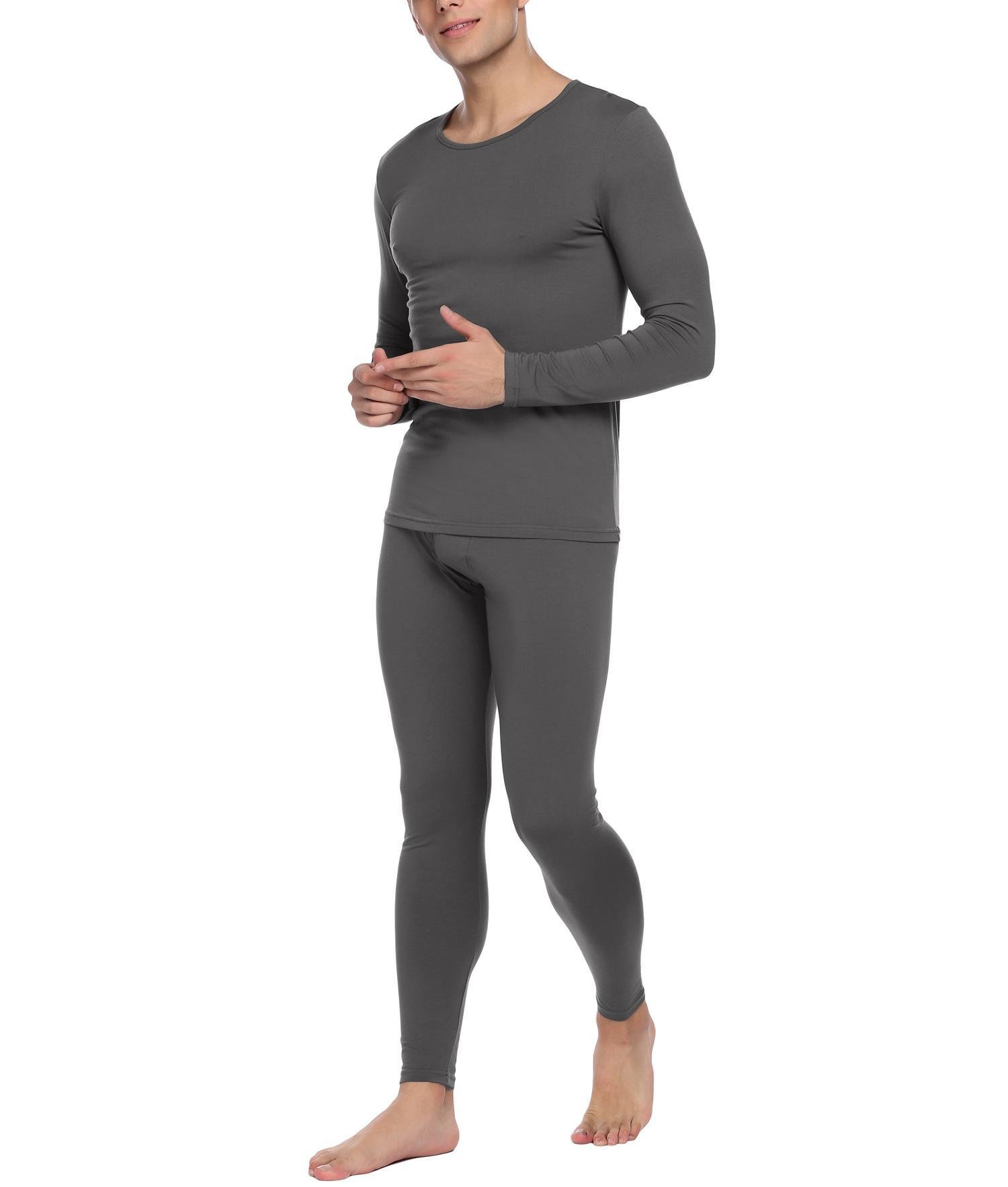 Fanala Men Soft Ultra Microfiber Fleece Thermal Underwear Long Johns Set Grey XXL