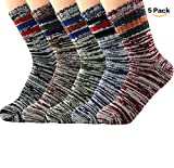 American Trends Autumn Winter 5 Packs Casual Soft Fine Lattice Fade Thick Wool Warm Cabin Striped Crew Socks