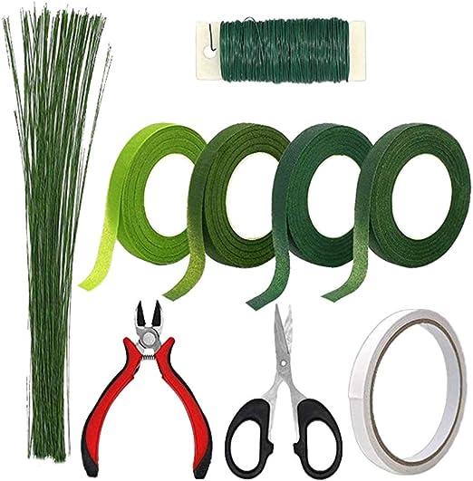 Milisten 50pcs 24 Gauge White Floral Wire Stem Handmade Flower Arrangement Supplies Accessories for DIY Craft