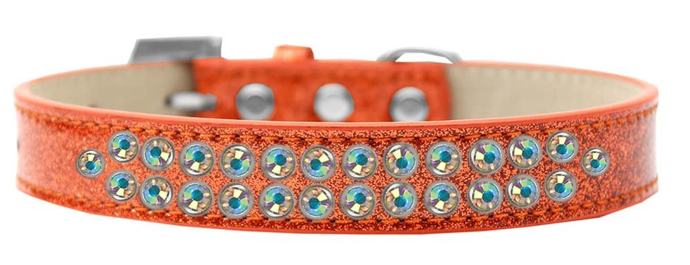 Mirage Pet Products Two Row AB Crystal Orange Ice Cream Dog Collar, Size 20 by Mirage Pet Products