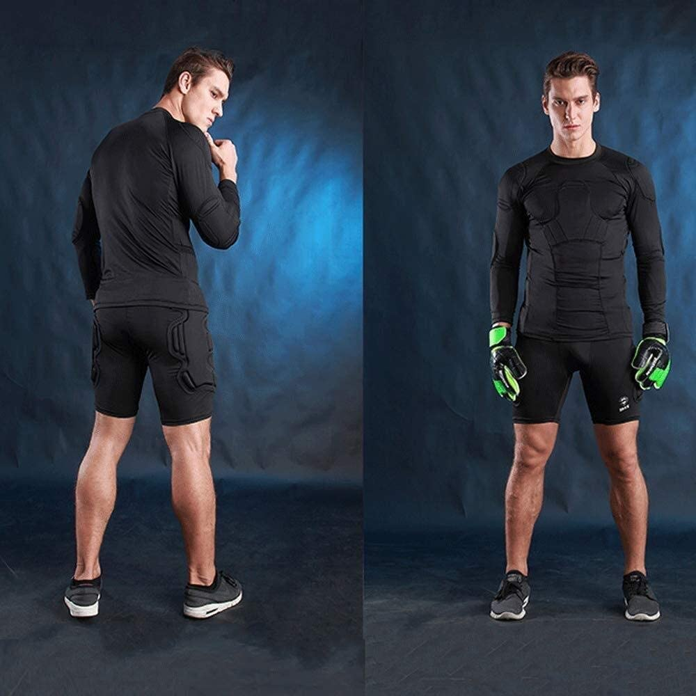 Padded Compression Shirt /À Manches Longues-Hommes Rembourr/é Protecteurs De Football Rib Poitrail Protector for Basketball Paintball Parkour Extreme Exercice Hcxbb-17 Anti-Collision Costume