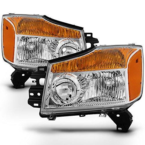 ACANII - For 2004-2015 Nissan Titan 04-07 Armada Pickup Headlights Headlamps Driver + Passenger Side Pair Set - Nissan Titan Armada Headlamp Headlight