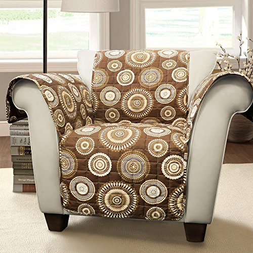 Lush Decor Cleo Furniture Protector-Circle Pattern Armchair Cover-Brown