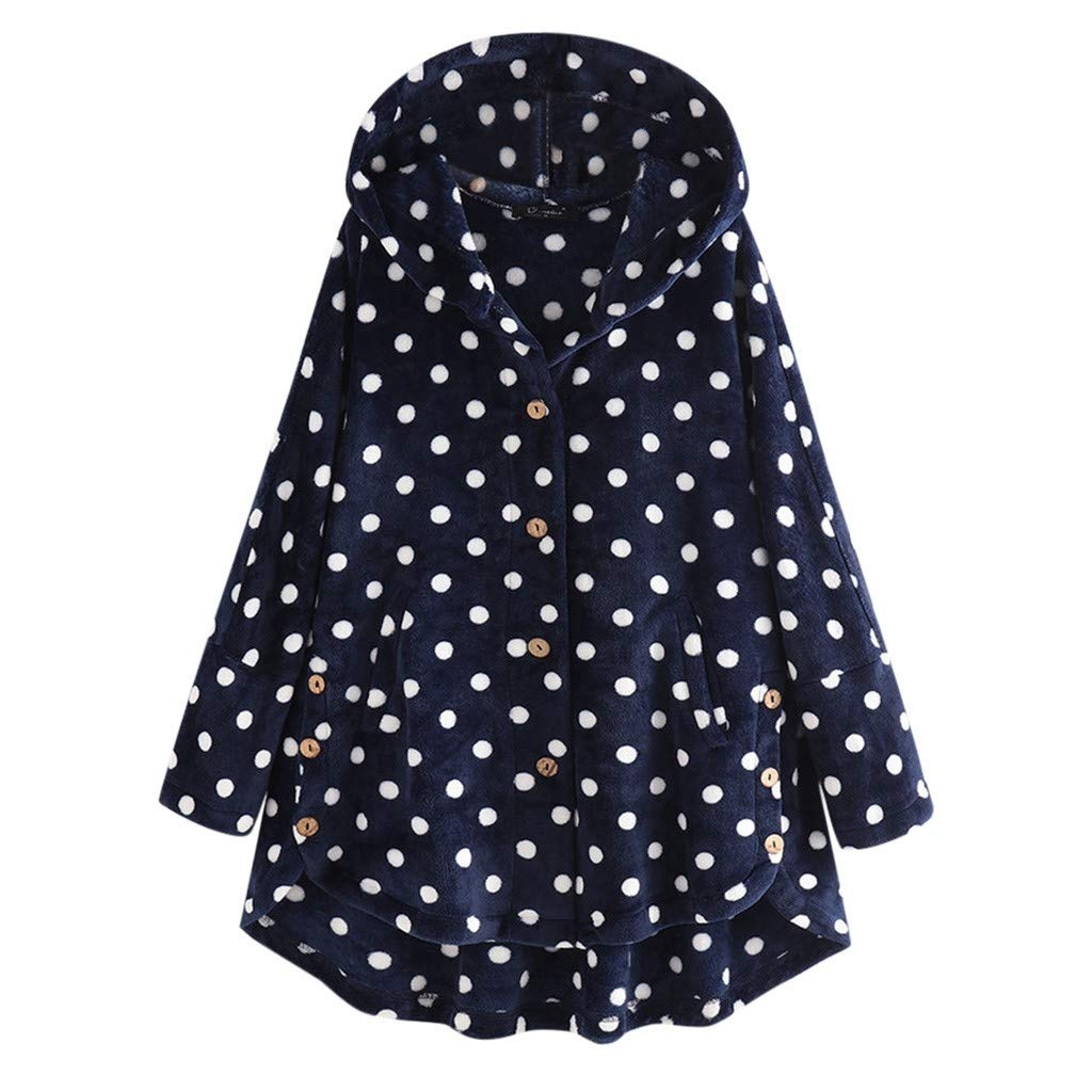 Womens Casual Button Hooded Coat Tops Loose Dot Print Pullover Fuzzy Sweater Plush Blouse Coat Overcoat Plus Size S-5XL (Navy, 4X-Large) by Aritone - women clothes