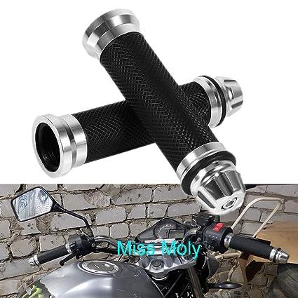 VGEBY Paire Poign/ées de Guidon 7//8po 22mm Antid/érapant en Caoutchouc Aluminium pour Moto V/élo Couleur: Argent