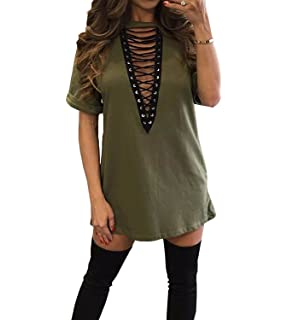 8b6f9cb868c1c Yidarton Women Choker Deep V Neck Casual Loose Long Tops T-Shirt ...