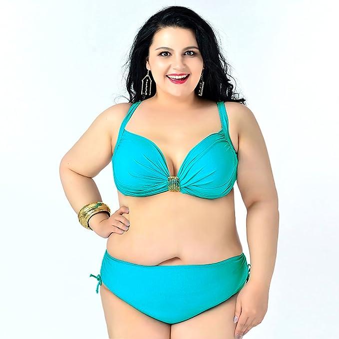 9d86586850 MingTai Bikini Taglie Forti Ahead Mod Neo Effetto Imbottita Swimwear Mare  Taglia 6XL Lago Verde: Amazon.it: Abbigliamento