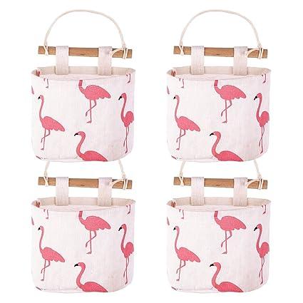 Organizador Pared Bolsa Almacenamiento de 4 Bolsillos Colgantes Tela  Flamingo para Puerta Pared Cuarto de Baño 01fc44c79271
