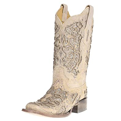 09d4d006173 Corral Boot Company Womens Ladies White Glitter/Crystals Square Toe Cowgirl  Boots