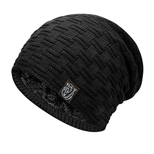 d6286efacb6 OYTRO Autumn Winter Men Hat Multicolor Thickened Plush Warm Knitted Cap  Skullies   Beanies Black