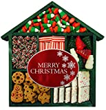 Christmas Candy Gift House - Contains: Peppermint Bark, Gingerbread Cookies, Gummi Trees & Snowmen, Strawberry Mini Licorice Candy Canes, Holiday Mini Nonpareils, Christmas Corn