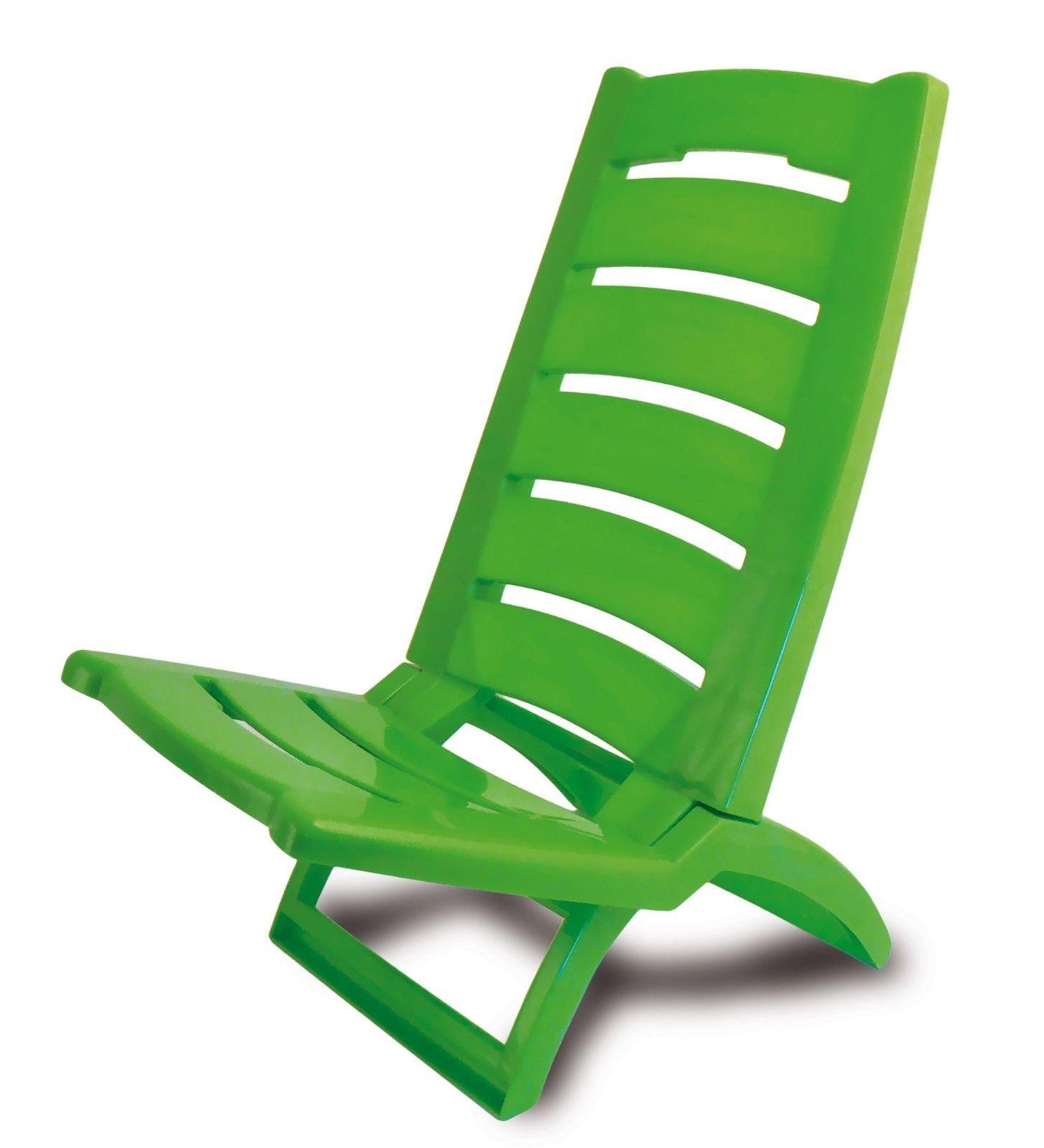 ADRIATIC Beach Chair Coloured Folding Plastic Low Deck Chair Sun Garden Sea Side (Dark Green - Set Of 2)