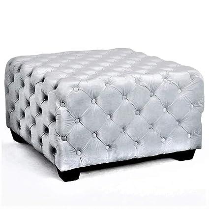 Amazon Com Tuft Ottoman Bench Square Settee Light Grey Living Room