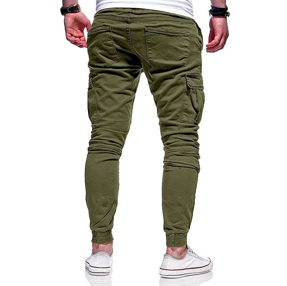 WOCACHI Mens Cargo Jogger Pants Twill Chino Drawstring Elastic Sports Trousers