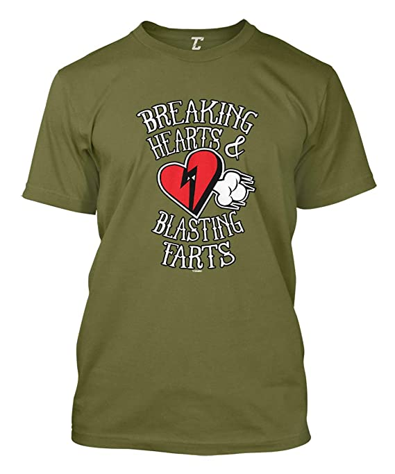 14dc23152 Amazon.com: Breaking Hearts & Blasting Farts - Funny Love Men's T-Shirt:  Clothing