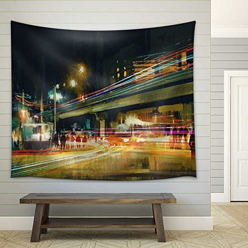 Digital Painting of City Street at Night with Colorful Light Trails Fabric Wall