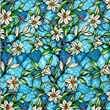 VELIMAX Decorative Window Film Stained Glass Privacy Window Film Static Cling Window Tint Sticker for Home Bathroom Kitchen Bedroom Sun Blocking Anti-UV (35.4'' x 78.7'')