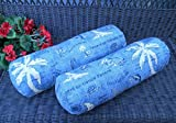 Set of 2 Indoor / Outdoor Decorative Bolster / Neckroll Pillows - Tommy Bahama Island Song Fabric - Blue Nautical Tropical