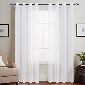 Fabulous Amazon.de: TOPICK Weiß Lange Gardinen Vorhang für Wohnzimmer LX24