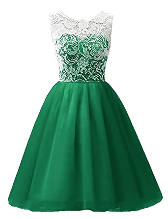 MicBridal Flower Girl / Adult Ball Gown Lace Short Prom Dress Green US10